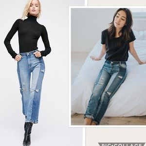 NWT Free People Patchwork Distressed Skinny Jeans